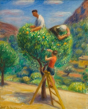 [picking fruit] by william glackens